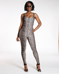 Merle Cheetah Front Zip Jumpsuit