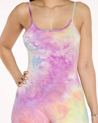 Oh You Fancy Tie Dye Rouched Jumpsuit - Pink Purple