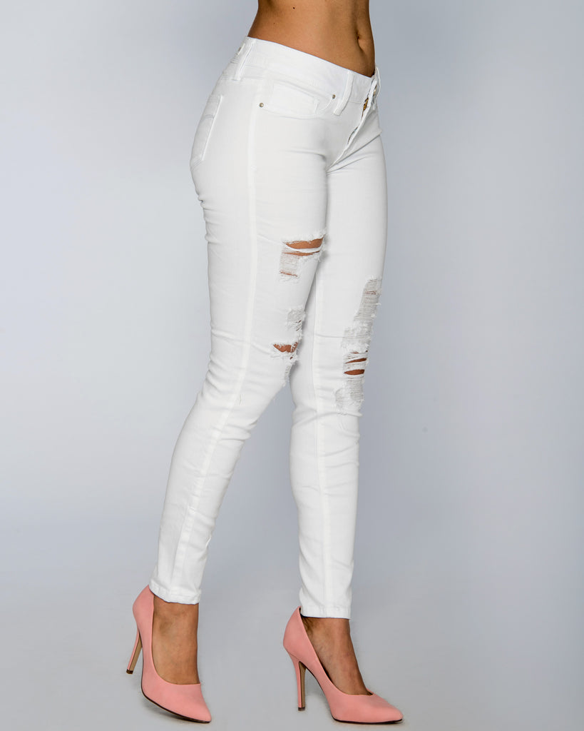 YMI Sassy Distress Jean - White - ShopVimVixen.com