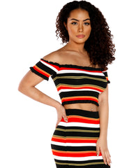 VIM VIXEN Ruth Stripe Off The Shoulder Top - ShopVimVixen.com