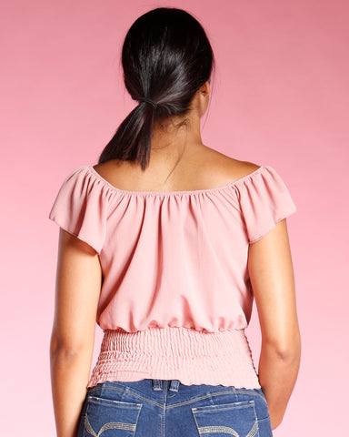 OFF THE SHOULDER SMOCKING WAIST TOP (AVAILABLE IN 2 COLORS)