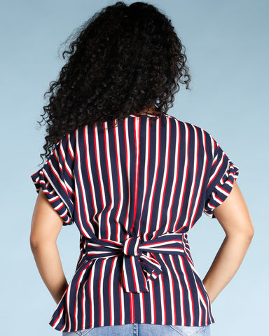 ELEGANT STRIPE TOP - NAVY RED