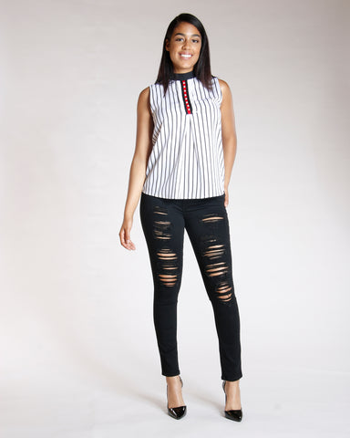 STRIPE NECK TIE PEARL TRIM TOP