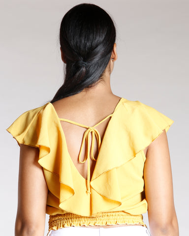 RUFFLE BACK TIE TOP  (AVAILABLE IN 2 COLORS)