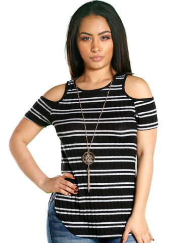ELETRA STRIPE COLD SHOULDER TOP (AVAILABLE IN 4 COLORS)
