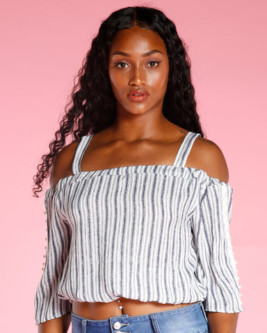 STRIPE PEARL TRIM TOP