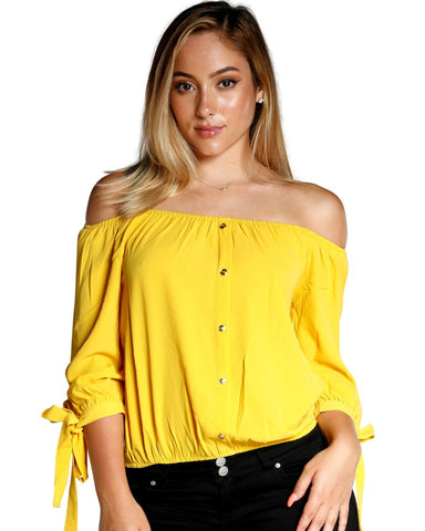 TIE SLEEVE OFF THE SHOULDER TOP (AVAILABLE IN 4 COLORS)