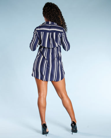 Three Quarter Sleeve Stripe Dress (Available In 2 Colors)