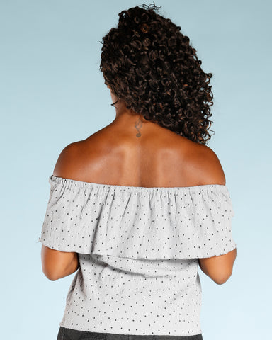 POLKA DOT OFF THE SHOULDER TOP (AVAILABLE IN 2 COLORS)