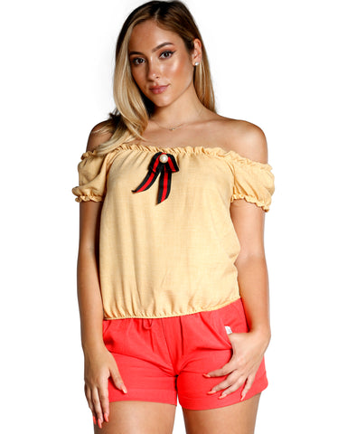 OFF THE SHOULDER NECK TIE PEARL TOP (AVAILABLE IN 4 COLORS)