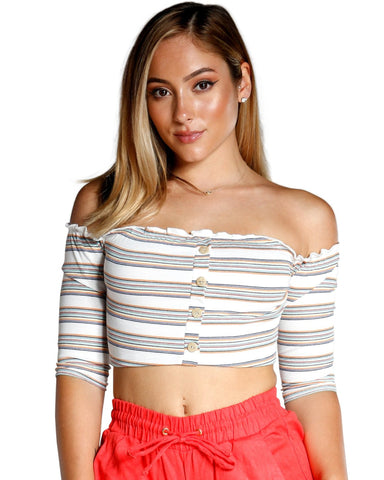 OFF THE SHOULDER STRIPE BUTTON TOP (AVAILABLE IN 2 COLORS)