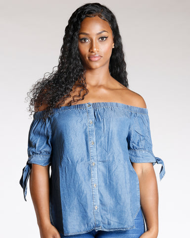 BUTTON DOWN OFF THE SHOULDER TOP - MEDIUM BLUE