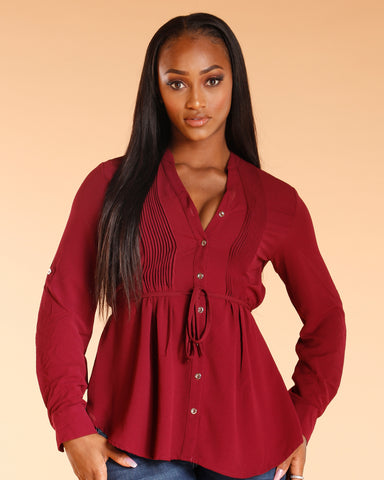 Three Quarter Sleeve Button Down Tunic