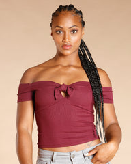 OFF THE SHOULDER FRONT TIE TOP (AVAILABLE IN 2 COLORS)