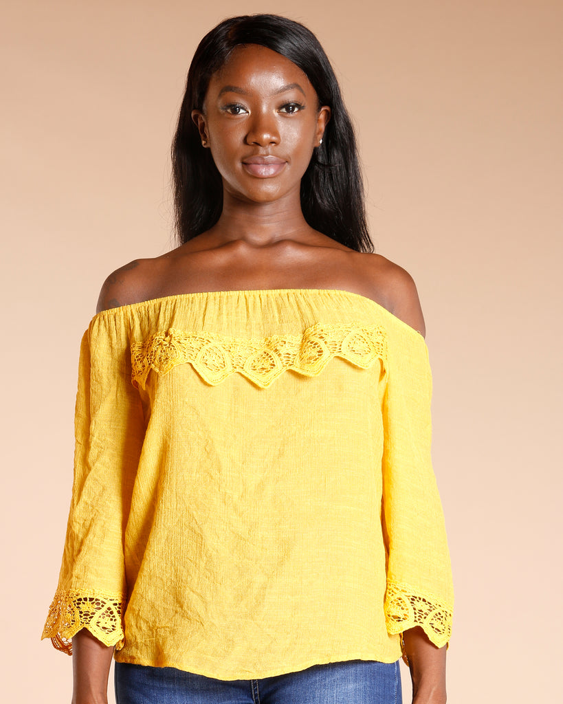Off Shoulder Crochet Trim Top (Available In 4 Colors)