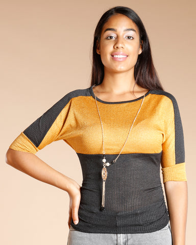 COLOR BLOCK THREE QUARTER SLEEVE NECKLACE TOP (AVAILABLE IN 4 COLORS)