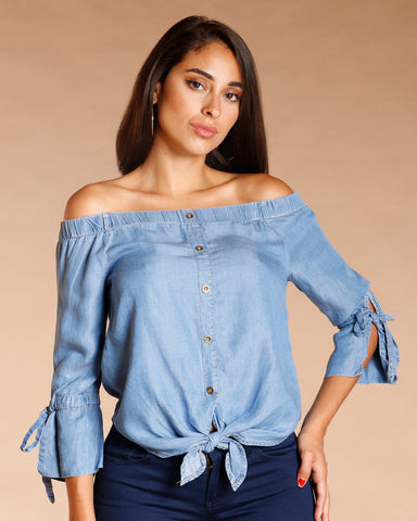 Off The Shoulder Denim Top - Medium Blue