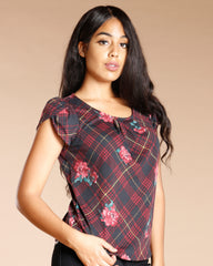 Floral Plaid Top (Available In 2 Colors)