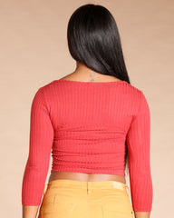 Three Quarter Sleeve Front Button Top