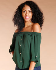 Off The Shoulder Front Button Top (Available In 4 Colors)
