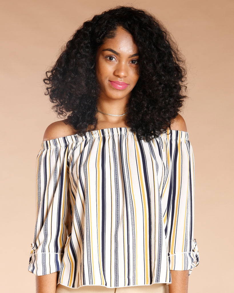 Off The Shoulder Stripe Top (Available In 2 Colors)