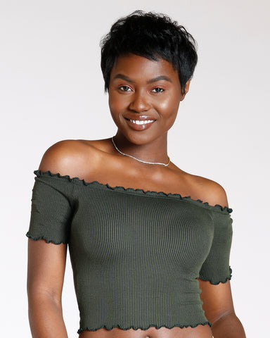 Stop Frontin Off The Shoulder Top - Green