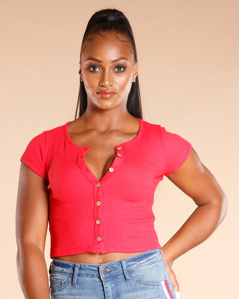 Seven Button Ribbed Top