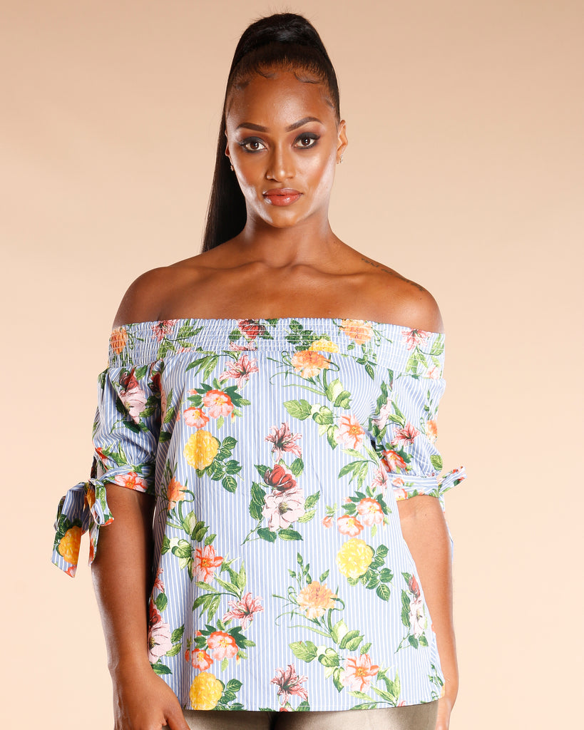 Floral Stripe Off The Shoulder Dress