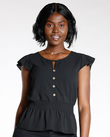 Black Cap Black Sleeve Button Top