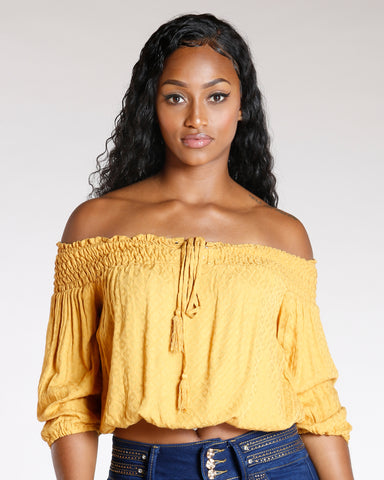 Smocking Off The Shoulder Top (Available In 4 Colors)