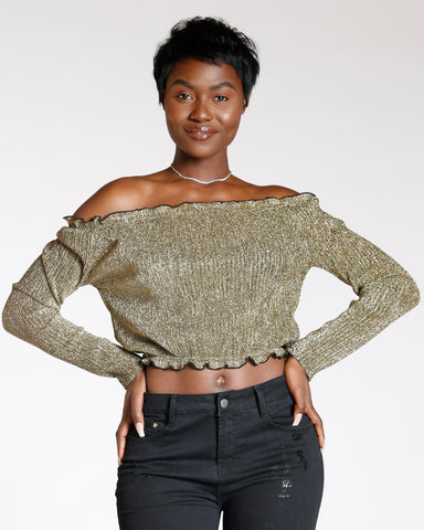 Gold Royalty Off The Shoulder Top