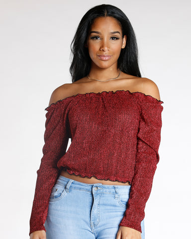 Red Royalty Off The Shoulder Top