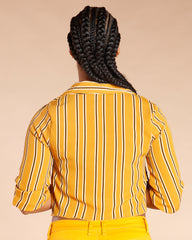 STRIPE FRONT TIE 3/4 SLEEVE TOP