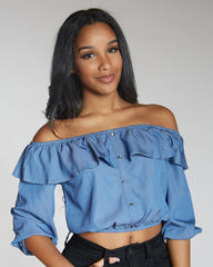 VIM VIXEN Long Sleeve Off The Shoulder Denim Top - ShopVimVixen.com