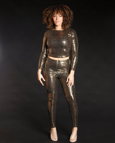 Women's Uptown Glow Sequin Top - Vim Vixen - Remy Ma -Gold