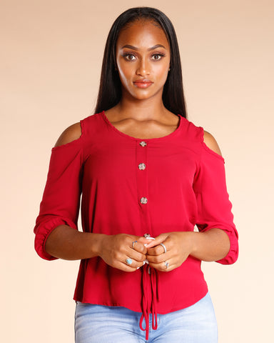 COLD SHOULDER BUTTON TOP