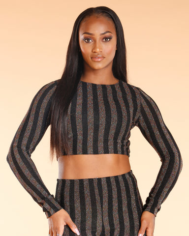 Noelia Glitter Stripe Crop Top