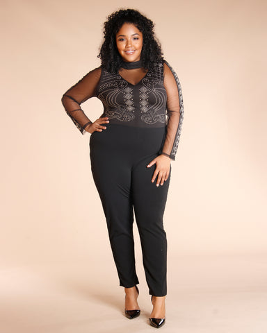 Studded Mesh Jumpsuit (Available In 3 Colors)