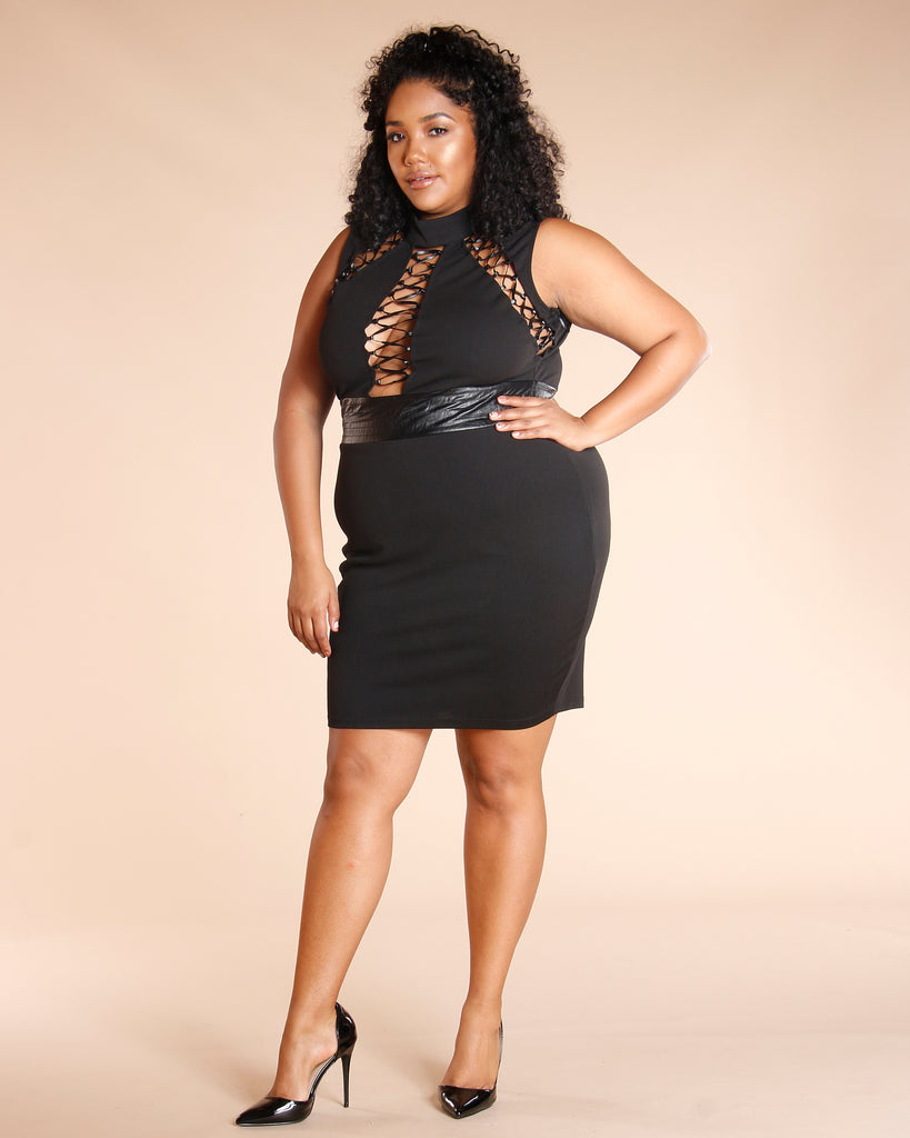 Plus Lace Up Dress (Available In 2 Colors)