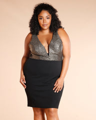 Plus Deep V Dress (Available In 2 Colors)