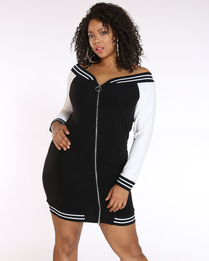 VIM VIXEN Zip Front Off Shoulder Dress - Black - ShopVimVixen.com