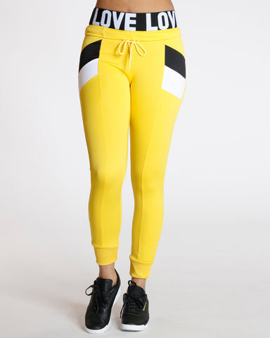 Chloe Yellow Color Block Interlock Legging