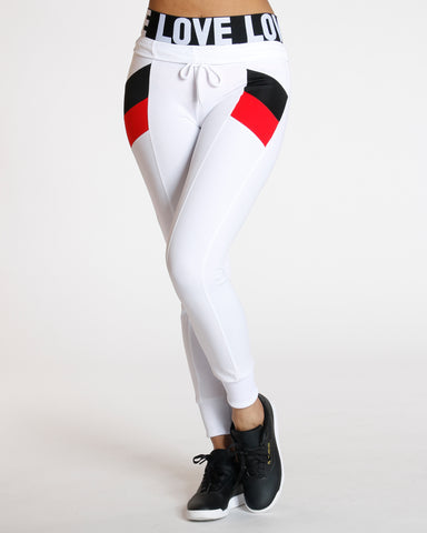 Chloe White Color Block Interlock Legging