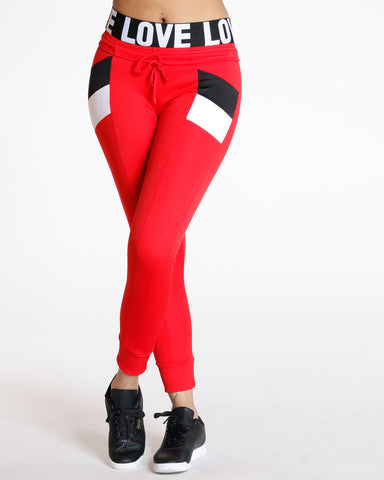 Chloe Red Color Block Interlock Legging