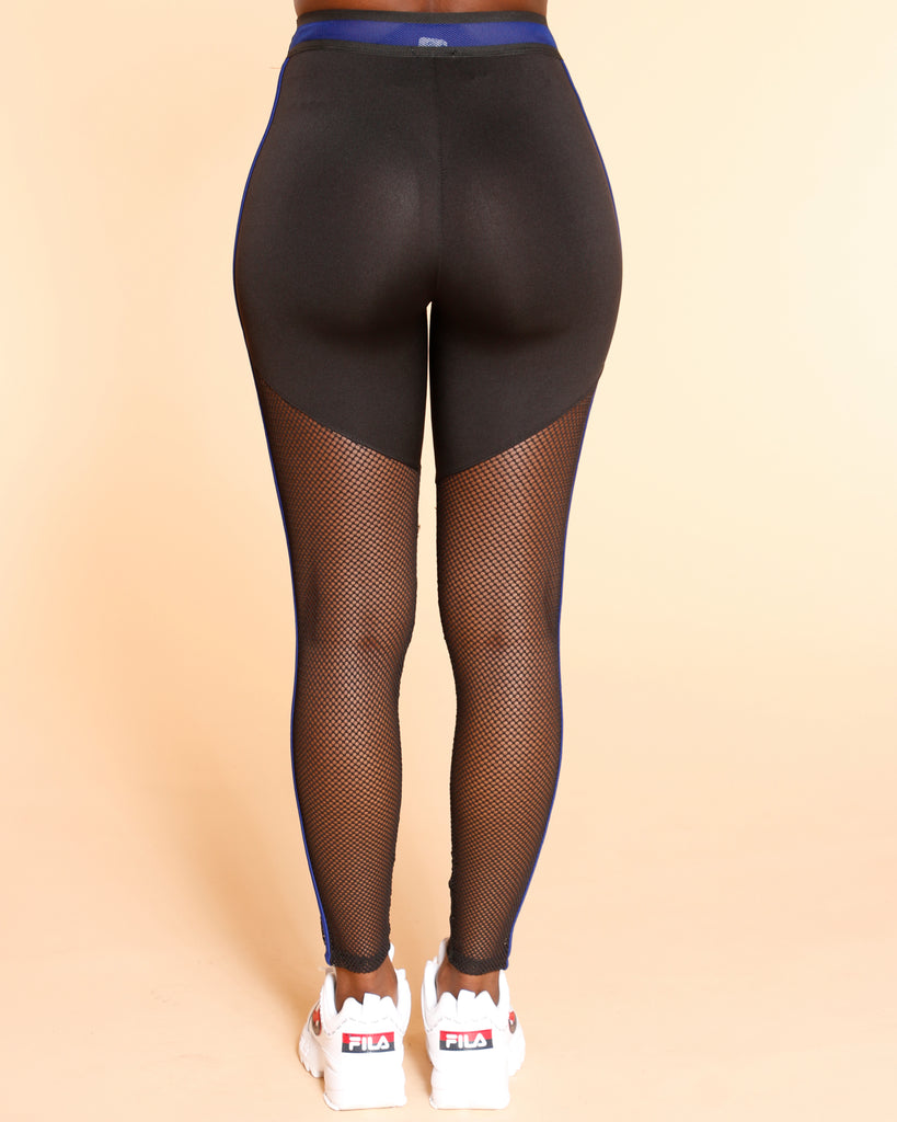 VIM VIXEN Steer Clear Color Block Mesh Legging - Royal - ShopVimVixen.com