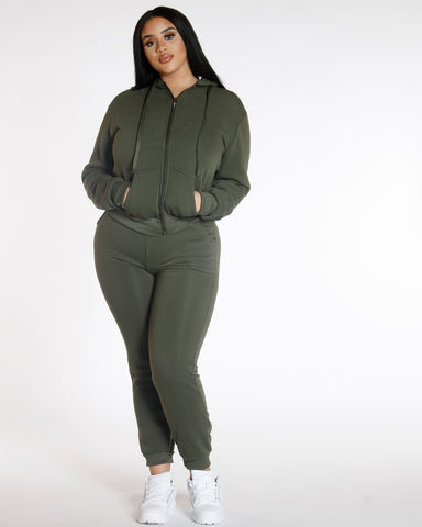 PLUS KNITTED FLEECE JOGGERS OLIVE