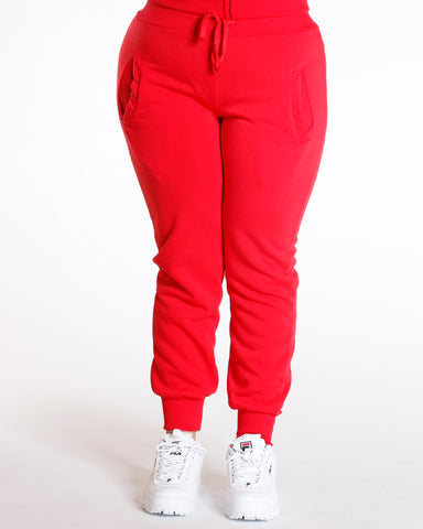 Knitted Fleece Joggers Red