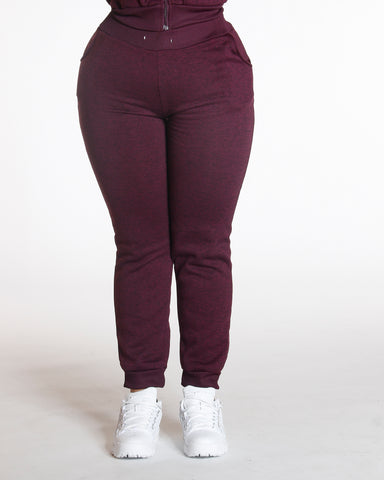 Plus Knitted Fleece Joggers Burgundy