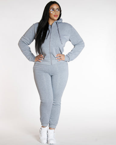 Plus Knitted Fleece Joggers Heather Grey