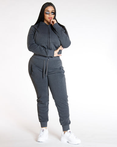 Knitted Fleece Joggers Charcoal